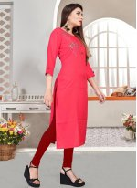 Embroidered Pink Rayon Party Wear Kurti