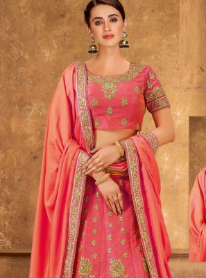 Embroidered Pink Velvet Lehenga Choli