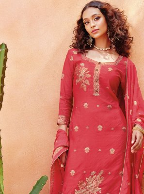 Embroidered Pink Viscose Pant Style Suit