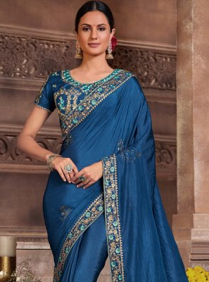 Embroidered Poly Silk Classic Designer Saree in Blue