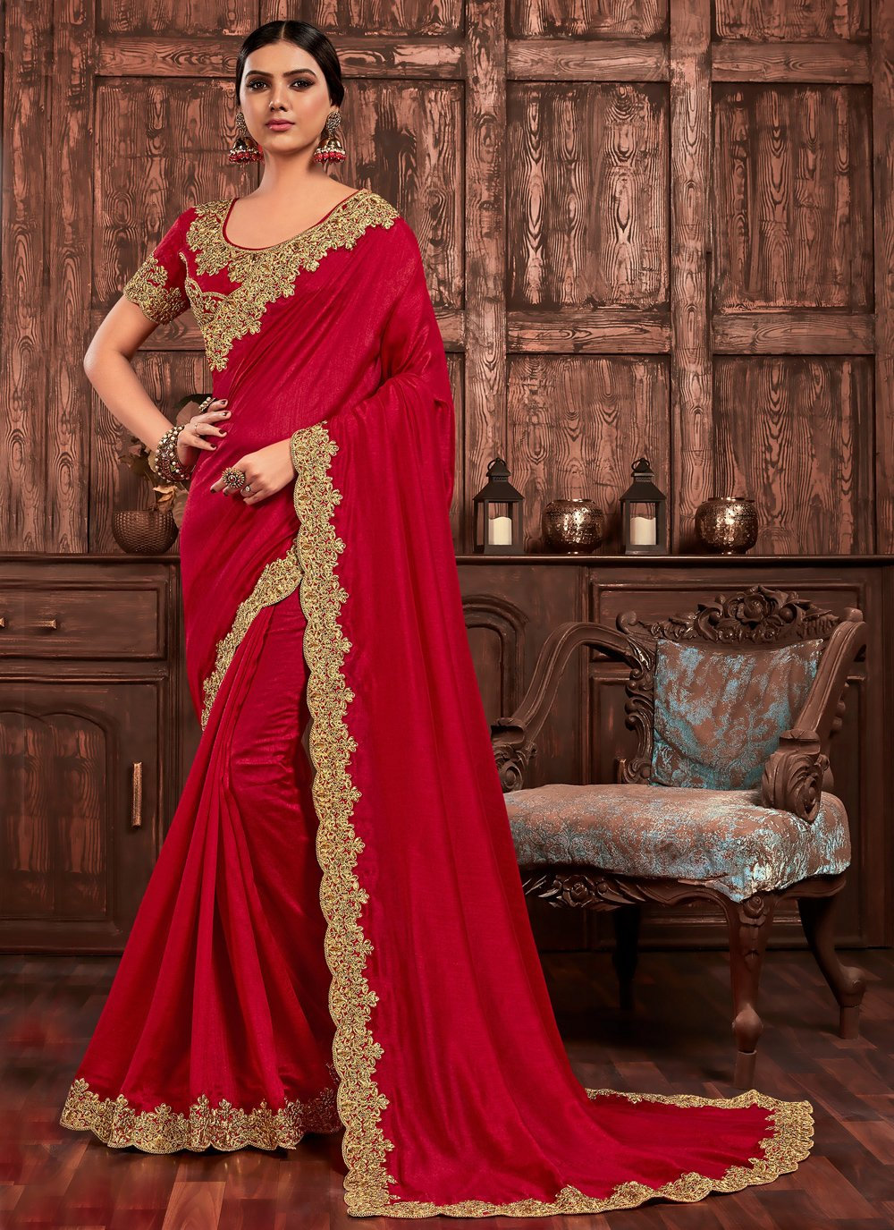 Embroidered Poly Silk Designer Saree in Red