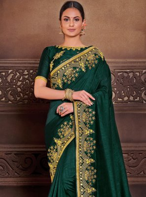 Embroidered Poly Silk Designer Traditional Saree in Green