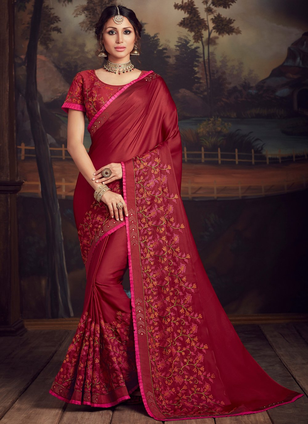 Embroidered Poly Silk Traditional Designer Saree