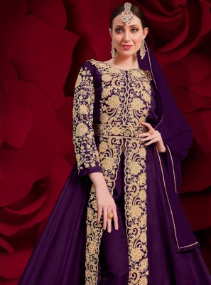 Embroidered Purple Anarkali Suit