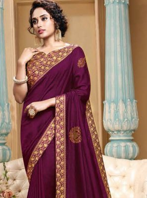 Embroidered Purple Art Silk Traditional Saree
