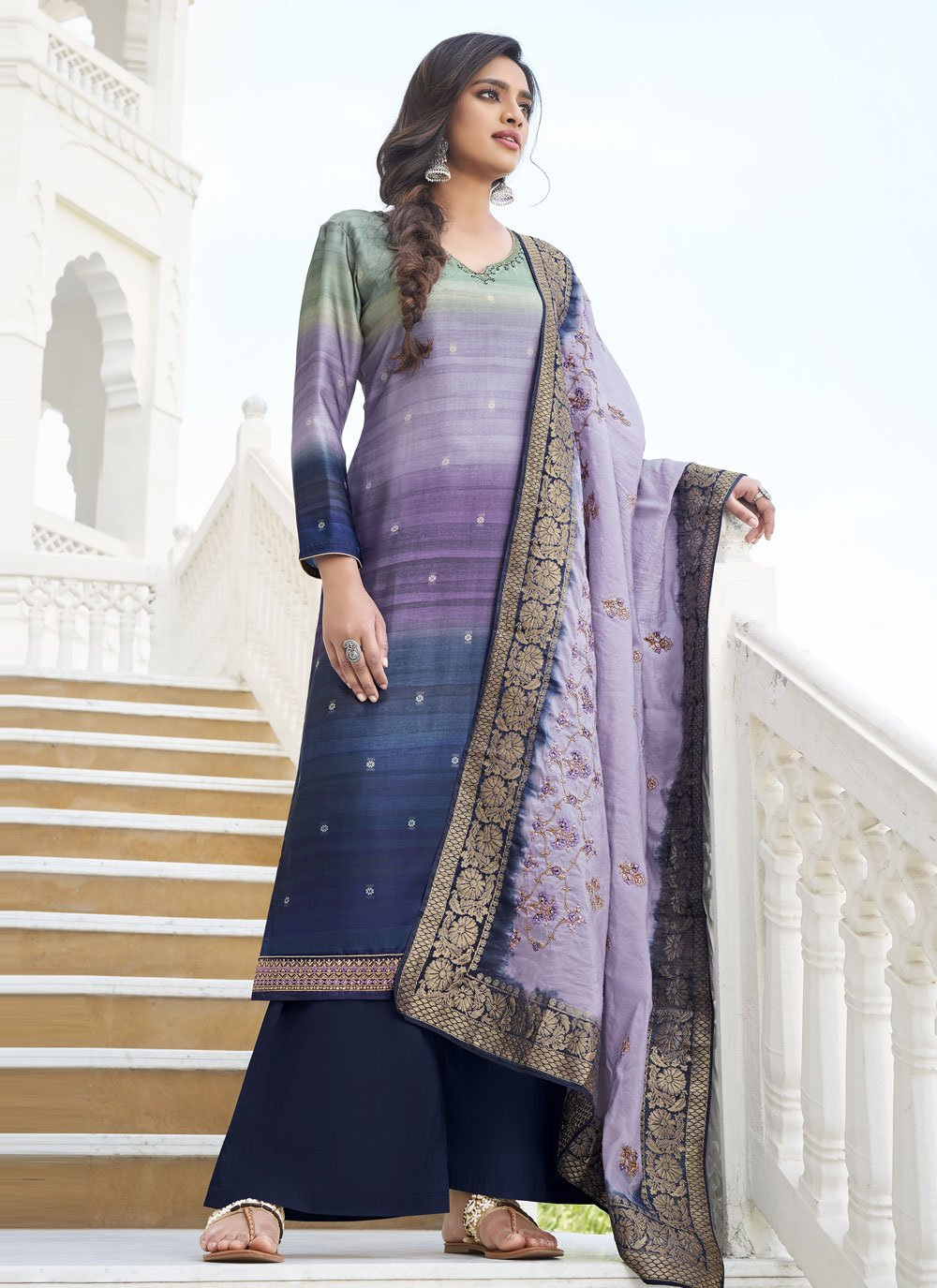 Embroidered Purple Designer Palazzo Salwar Suit