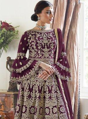 Embroidered Purple Designer Palazzo Suit