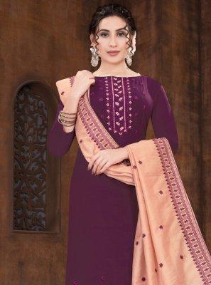Embroidered Purple Designer Straight Suit