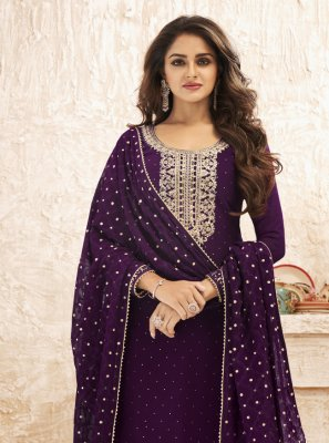 Embroidered Purple Faux Georgette Designer Straight Suit