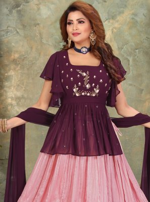 Embroidered Purple Faux Georgette Floor Length Anarkali Suit