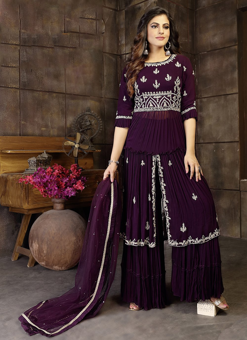 Embroidered Purple Faux Georgette Readymade Suit