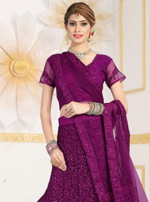 Embroidered Purple Lehenga Choli