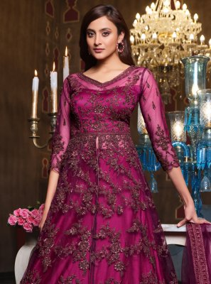 Embroidered Purple Long Choli Lehenga