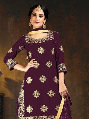Embroidered Purple Silk Designer Patiala Suit