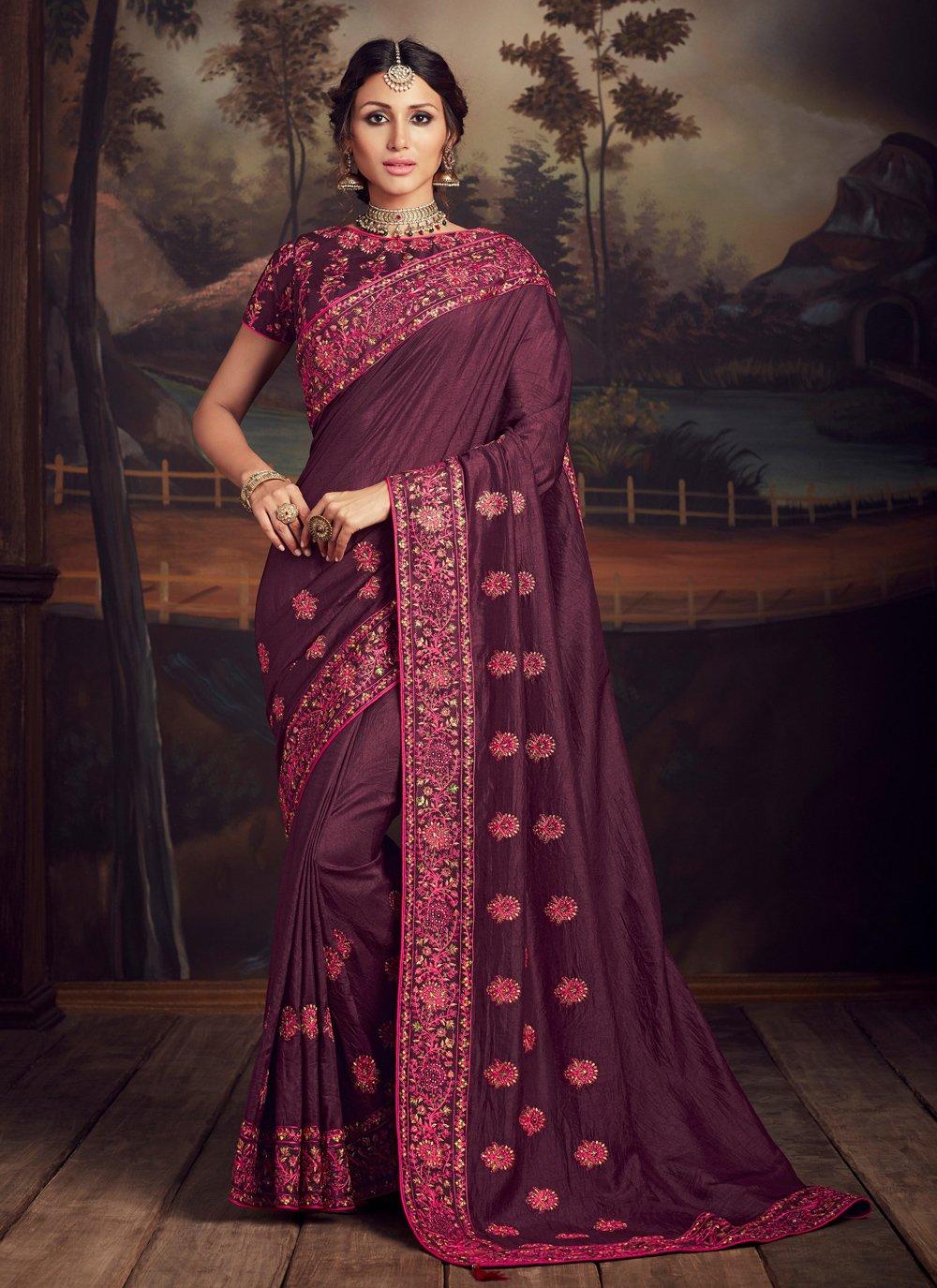 Embroidered Purple Traditional Designer Saree
