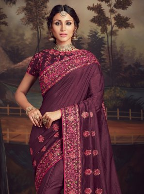 Embroidered Purple Traditional Designer Saree