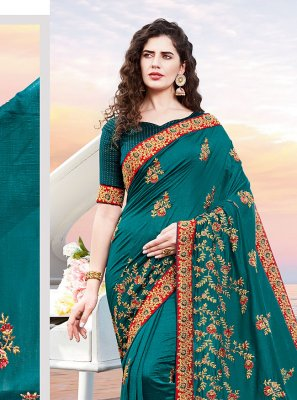 Embroidered Rama Designer Traditional Saree