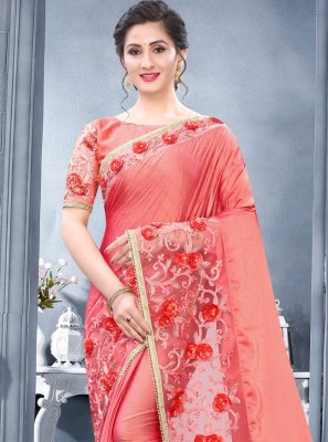 Embroidered Rangoli Pink Designer Traditional Saree