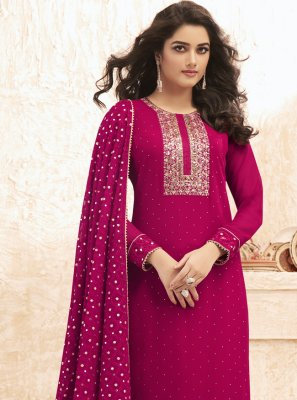Embroidered Rani Designer Straight Salwar Suit