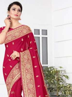 Embroidered Rani Traditional Saree