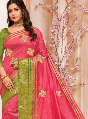 Embroidered Raw Silk Pink Traditional Designer Saree