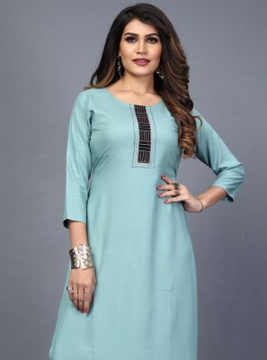Embroidered Rayon Blue Designer Kurti