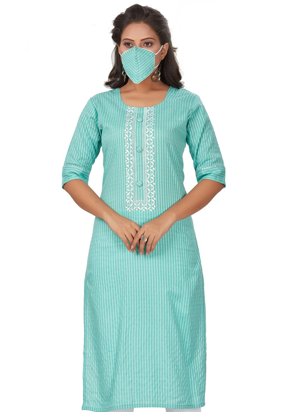 Embroidered Rayon Blue Party Wear Kurti