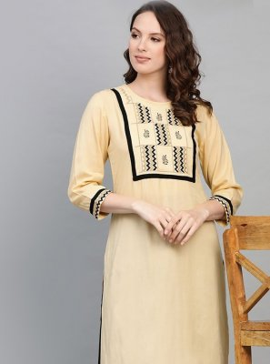 Embroidered Rayon Cream Designer Kurti