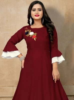 Embroidered Rayon Party Wear Kurti in Maroon