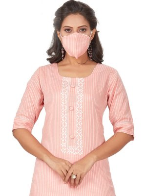 Embroidered Rayon Party Wear Kurti in Pink