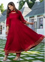 Embroidered Rayon Readymade Suit in Maroon