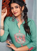 Embroidered Rayon Teal Casual Kurti