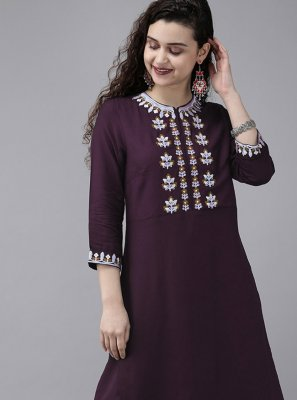 Embroidered Rayon Wine Designer Kurti