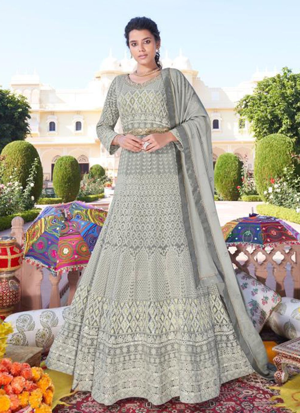 Embroidered Readymade Anarkali Suit