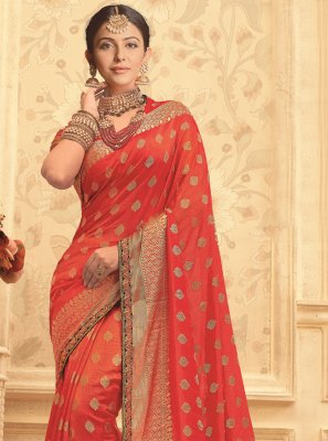 Embroidered Red Art Silk Designer Traditional Saree