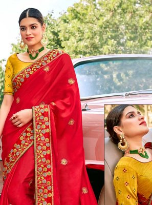 Embroidered Red Fancy Fabric Classic Saree
