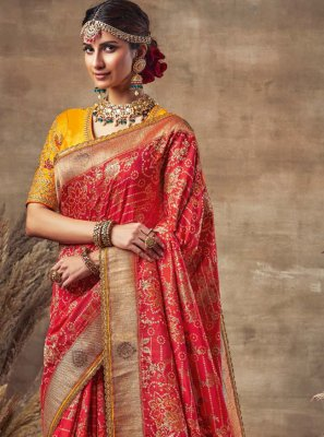 Embroidered Red Fancy Fabric Traditional Designer Saree