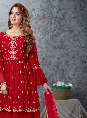 Embroidered Red Georgette Readymade Lehenga Choli
