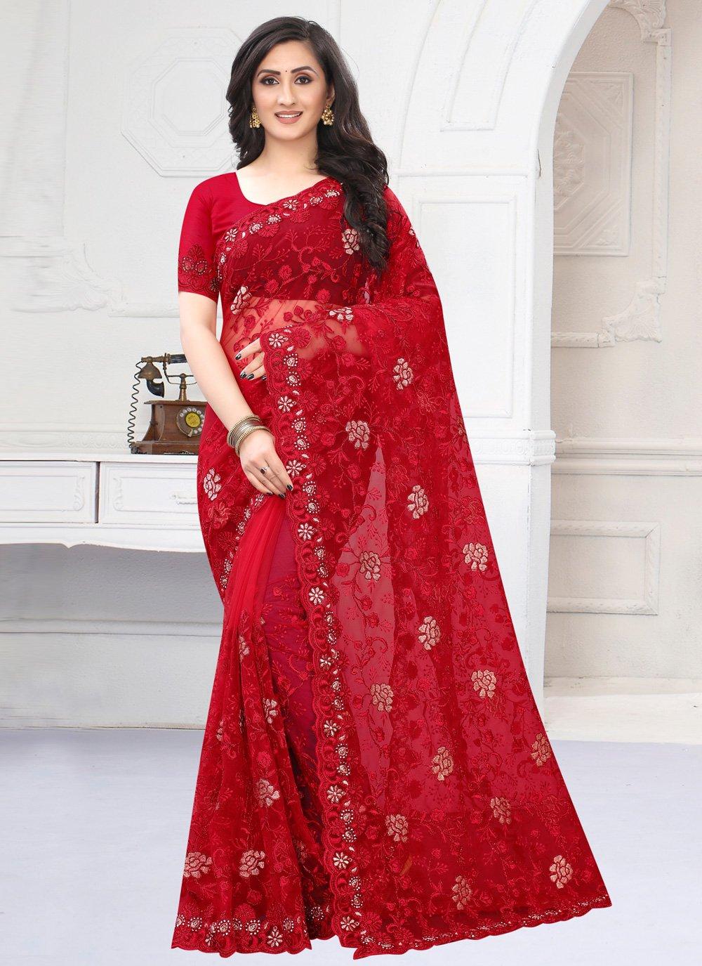 Embroidered Red Net Classic Designer Saree