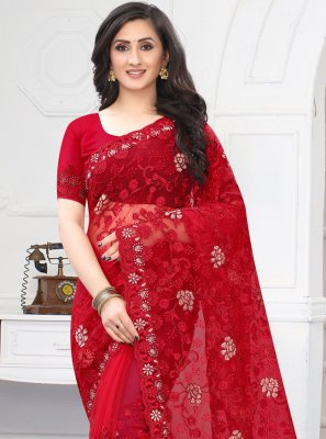 Embroidered Red Net Classic Designer Saree