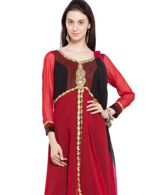 Embroidered Red Readymade Anarkali Salwar Suit