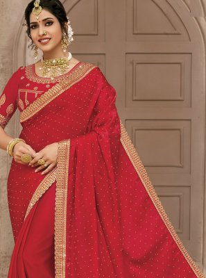 Embroidered Red Satin Silk Designer Traditional Saree