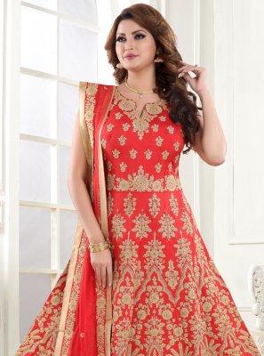Embroidered Red Silk Floor Length Anarkali Suit