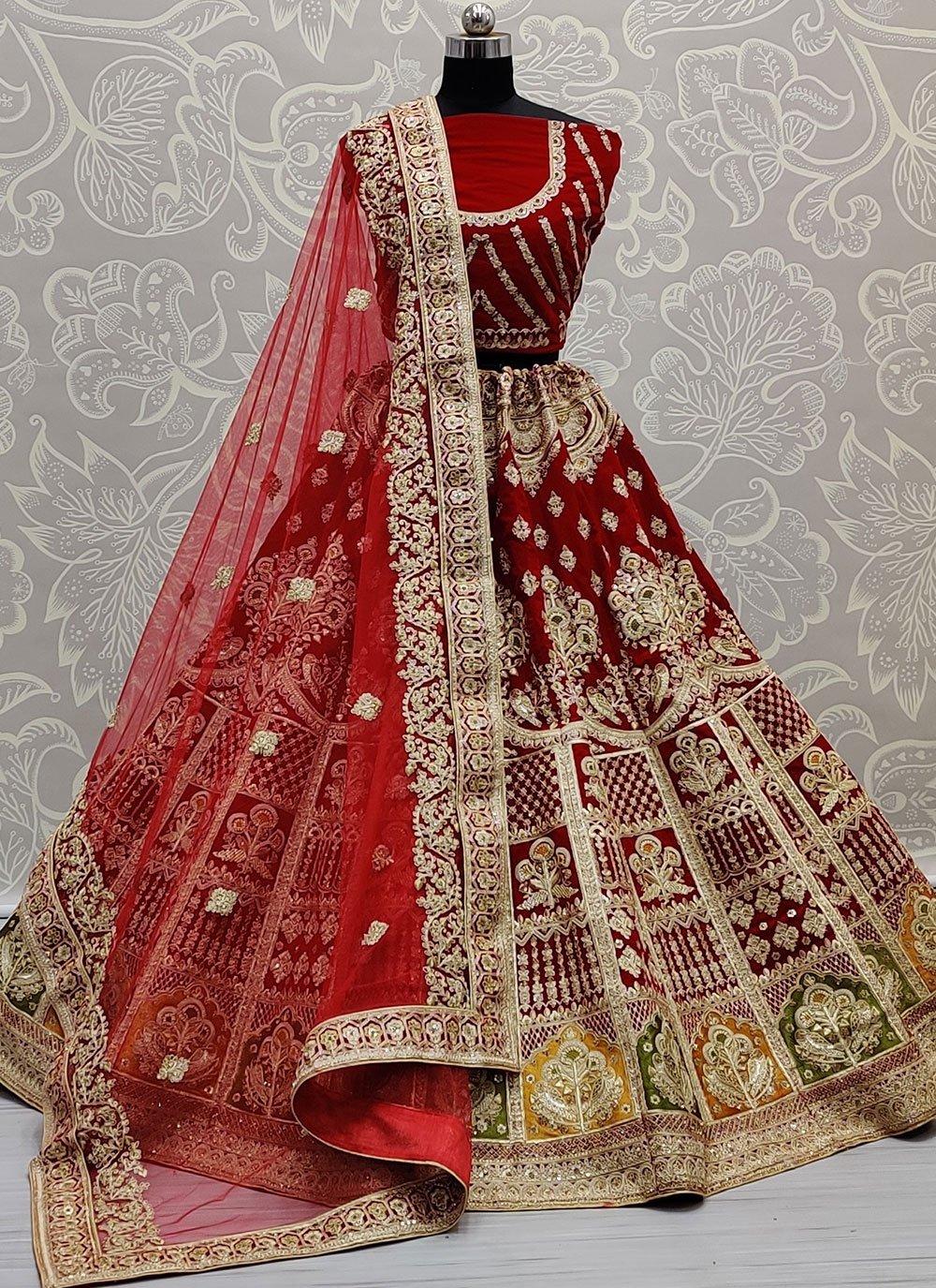 Embroidered Red Velvet Lehenga Choli