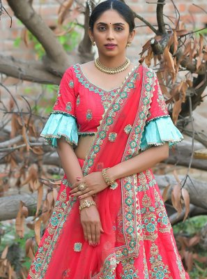 Embroidered Rose Pink Pashnima Silk Lehenga Choli
