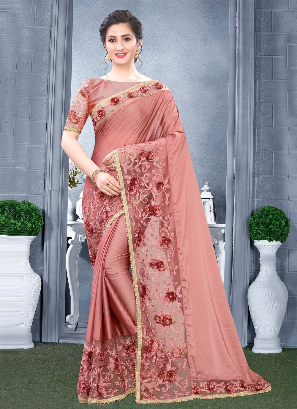Embroidered Sangeet Traditional Designer Saree