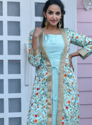 Embroidered Satin Floor Length Anarkali Suit in Sea Green