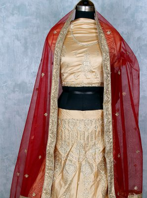 Embroidered Satin Lehenga Choli