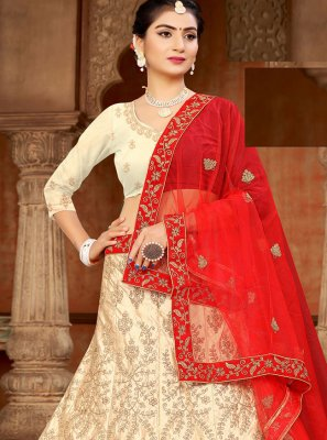 Embroidered Satin Lehenga Choli in Off White and Red