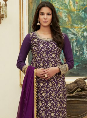 Embroidered Satin Pant Style Suit in Purple